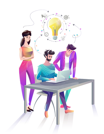 Concept in flat style with office workers. Man and woman are looking at laptop and discussing idea. Start up. Businessman. Creative atmosphere. Vector illustration.