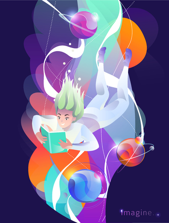 Concept in flat style with woman falling down with book. Education, game, reading, inspiration, imagination, fantasy. Vector illustration. Çizim