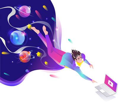 Concept in flat style with man falling down to laptop. Planets and space. Internet freedom, free wifi, on-line education, game, reading, inspiration. Vector illustration. Çizim