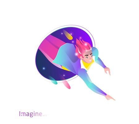 Concept in flat style with man falling from teleport. Internet freedom, free wifi, augmented reality, on-line education, game,  reading, inspiration. Vector illustration. Stock Illustratie