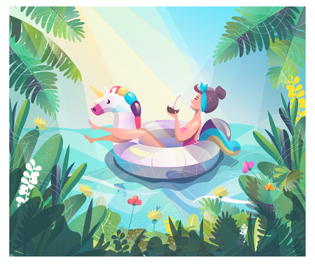 Concept in flat style with woman floating with circle. Vacation and relaxion. Sunbathing. Vector illustration. Illustration