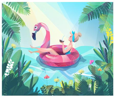 Concept in vlakke stijl met vrouw zwevend met cirkel. Vakantie en ontspanning. Zonnen. Vector illustratie.