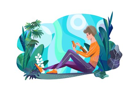 Concept in flat style. Young man sitting in park and chatting. Mobile phone. Çizim