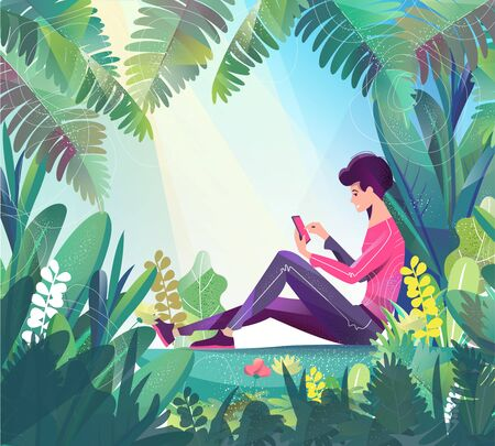 Concept in flat style. Young man sitting in park and chatting. Mobile phone. Stock Illustratie