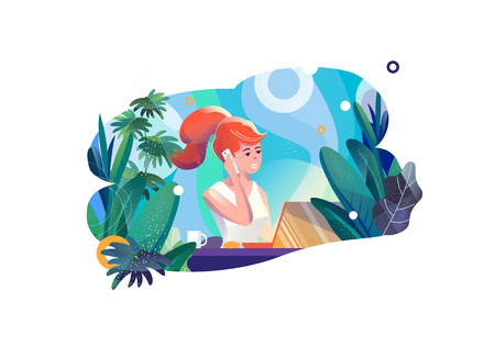 Concept in flat style with woman. Businesswoman works in office. Creative atmosphere. Vector illustration. Illustration