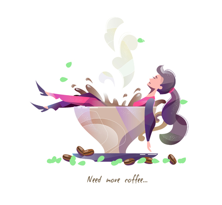 コーヒーの大きなカップに横たわっている女性とフラットスタイルのコンセプト。コーヒー中毒。ベクターの図。  イラスト・ベクター素材