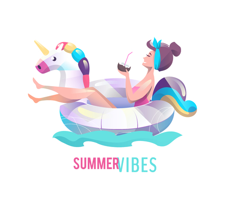 Concept in flat style with woman swimming with circle. Vacation and relaxation. Sunbathing. Vector illustration.