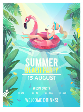 Concept in flat style. Summer beach party poster. Woman floats with circle. Vector illustration.  イラスト・ベクター素材