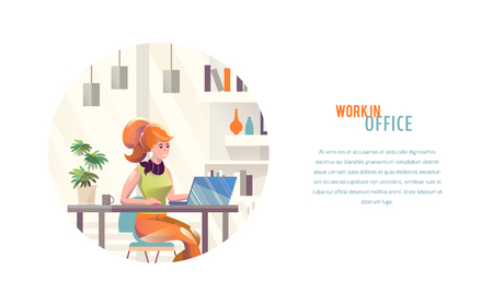 Concept in flat style with woman. Businesswoman works in office. Creative atmosphere. Vector illustration. Çizim
