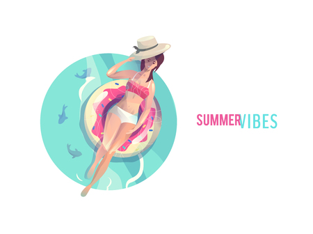 Concept in flat style with woman floating with circle. Vacation and relaxation. Sunbathing. Vector illustration.
