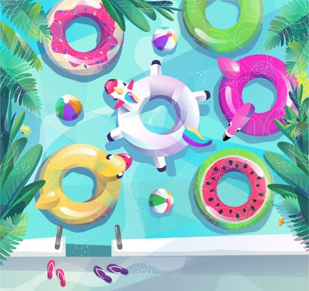Concetto in stile piatto. Manifesto della festa in piscina estiva. Molti cerchi galleggiano in piscina o in mare. Illustrazione vettoriale.
