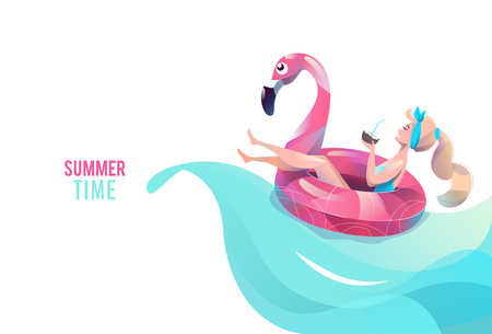 Concepto de estilo plano con mujer nadando con círculo. Vacaciones y relax. Broncearse. Ilustración de vector. Ilustración de vector