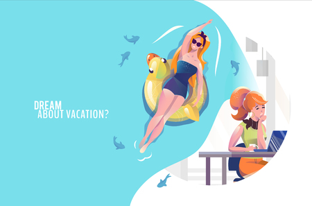 Concept in flat style with woman in office dreaming about vacation. Woman swims with duck circle. Vector illustration.