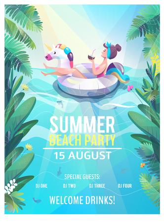 Concetto in stile piatto. Manifesto della festa in spiaggia estiva. La donna galleggia con il cerchio. Illustrazione vettoriale. Vettoriali