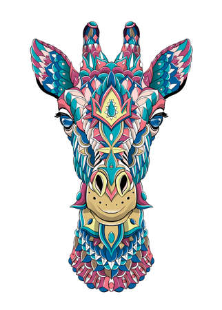 Patterned head of giraffe. Tattoo design. It may be used for design of a t-shirt, bag, postcard, a poster and so on.