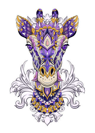 Patterned head of giraffe with decoration. Tattoo design. It may be used for design of a t-shirt, bag, postcard, a poster and so on.