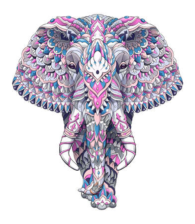 Patterned elephant with decoration. Tattoo design. It may be used for design of a t-shirt, bag, postcard, a poster and so on. Çizim