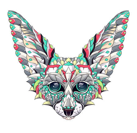Patterned head of fennec with decoration. Desert fox. Tattoo design. It may be used for design of a t-shirt, bag, postcard, a poster and so on. Illusztráció