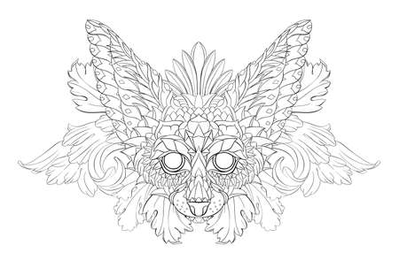 Patterned head of fennec with decoration. Desert fox. Tattoo design. It may be used for design of a t-shirt, bag, postcard, a poster and so on. Çizim