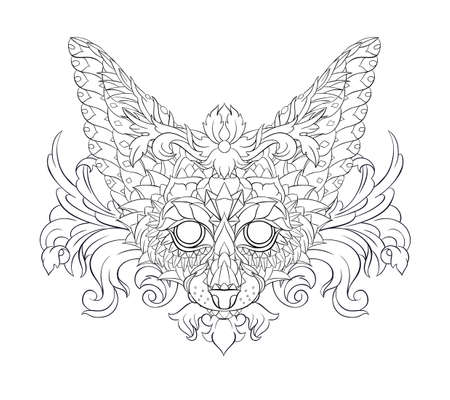 Patterned head of fennec with decoration. Desert fox. Tattoo design. It may be used for design of a t-shirt, bag, postcard, a poster and so on.