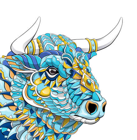 Patterned head of bull. Symbol of 2021. Tattoo design. It may be used for design of a t-shirt, bag, postcard, a poster and so on.