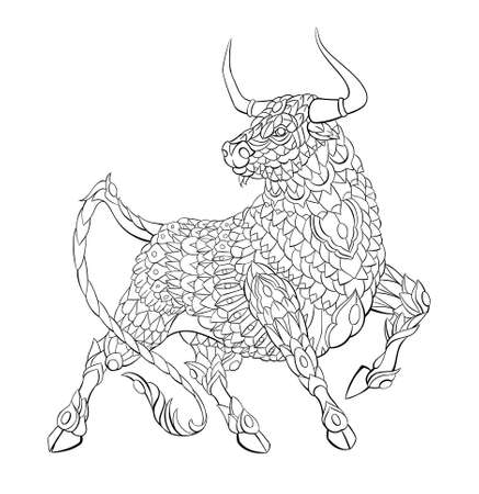 Patterned bull. Symbol of 2021. Tattoo design. It may be used for design of a t-shirt, bag, postcard, a poster and so on. Çizim