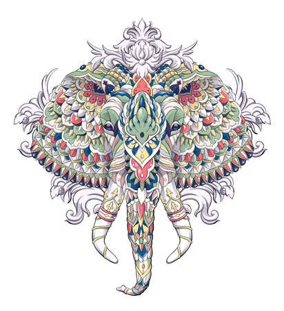 Patterned head of elephant with decoration. Tattoo design. It may be used for design of a t-shirt, bag, postcard, a poster and so on. Çizim