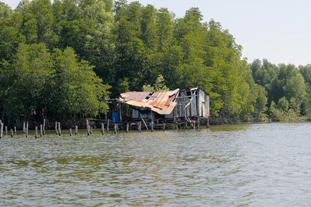 soundness: Old wooden hut at a sea in Thailand