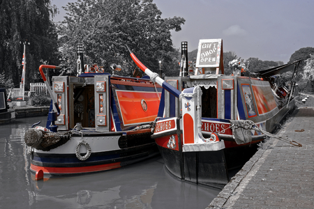 Typical boats on British Waterways. Stock Photo