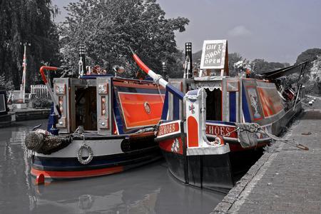 waterways: Typical boats on British Waterways. Stock Photo