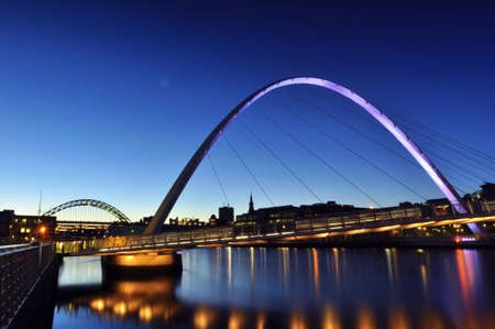 Millennium Bridge   River Tyne at Night, Newcastle and Gateshead