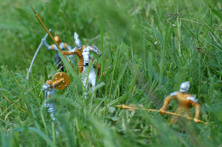 buckler: Battlefield with tiny toy knights in grass
