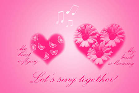 Flying female and blooming male hearts are singing together photo