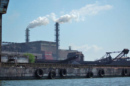 View from the river at rolled briquette plant