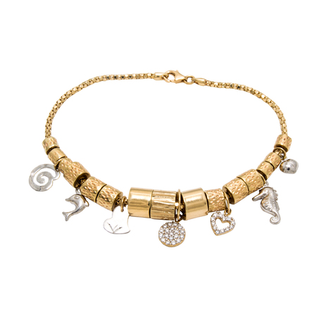 Unusual very special stylish golden diamond chain bracelet with pendants - star, heart, dolphin, sun,elephant - isolated on white background