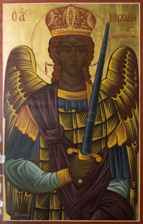 iconography: ALEXANDROUPOLIS, GREECE - OCTOBER 12: Archangel Michael a Byzantine iconography in the interior of Hagios Dimitrios, on October 12, 2012 in Alexandroupolis. Editorial