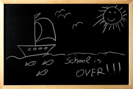 shool: shool is over for summer on a blackboard
