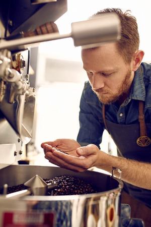 alubias: experto Coffee comprobar la calidad de los granos de caf� reci�n tostados que se han tostado por una m�quina moderna Foto de archivo