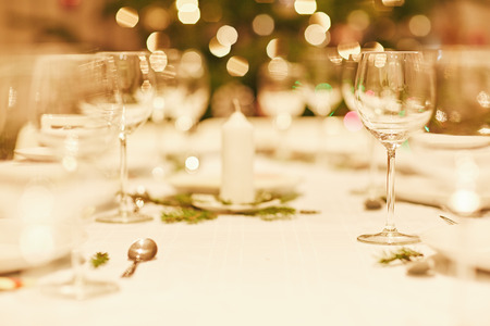 Closeup of the table setting on  Christmas