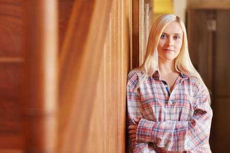 pyjamas: A beautiful young woman in her pyjamas at home