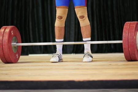 waist down: A weight lifters feet before starting his lift
