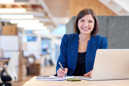 office cubicle: Portrait of an attractive businesswoman working at her desk in her office cubicle with paperwork and a laptop computer, looking at the camera and smiling broadly