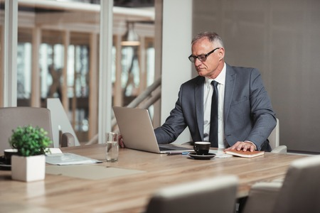 businessman suit: Confident mature businessman in a suit using a laptop while sitting at a table in an office boardroom
