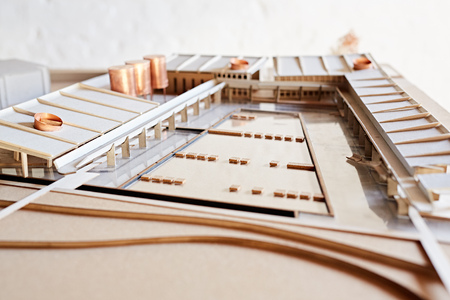 elaborate: Closeup detail of an elaborate architectural scale model of a large building development