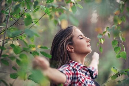Enjoying fresh air and nature Stock Photo