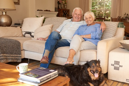 couple on couch: Happy senior couple relaxing at home with their dog
