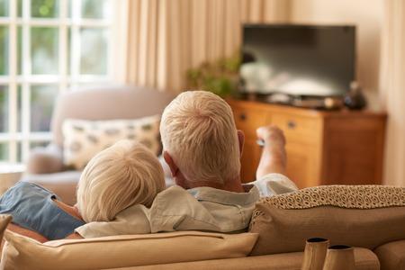 그들의 팔에서 편안 하 고 가정에서 그들의 거실에서 소파에 텔레비전을보고 다 정한 수석 몇 후면