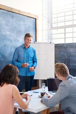 Glimlachende manager geven een presentatie aan collega's in een kantoor