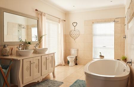 넓은 고전적인 스타일의 욕실 내부
