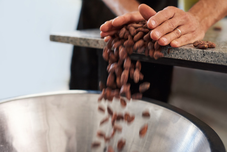 Worker pouring cocoa beans into a bowl for chocolate production Foto de archivo - 111147521